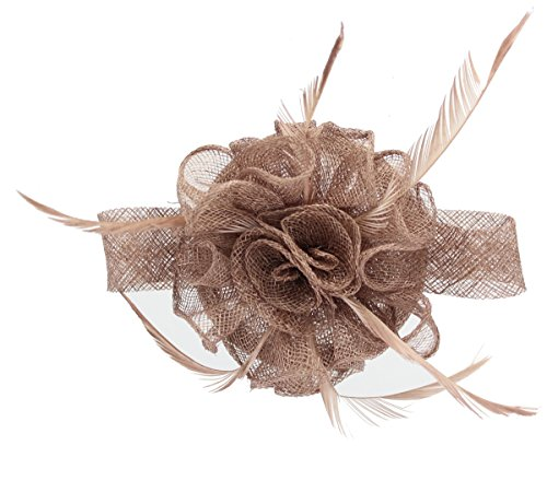 Mocha Fascinator on Headband/ Clip-in for Weddings, Races and Occasions-6441