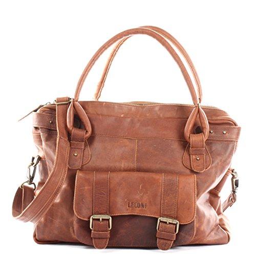 LECONI Henkeltasche Echtleder Damentasche Vintage Look Schultertasche natur Damen Ledertasche Frauen Handtasche Leder 38x29x11cm braun LE0050-wax
