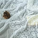 SQINAA Spitze Blumen Stoff Stickerei Kleid Mesh Brautkleid