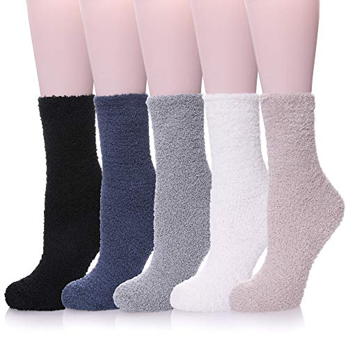LANLEO 5/6 Pairs Womens Super Soft Fuzzy Plush Warm Winter Home Sleeping Slipper Socks 5 Pairs Solid Color Style