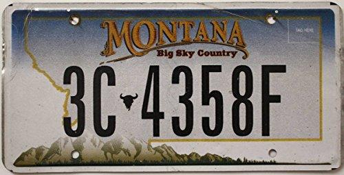 Montana Nummernschild , Flaches Autokennzeichen , US License Plate Big Sky Country , USA Blechschild mit Berge Grafik