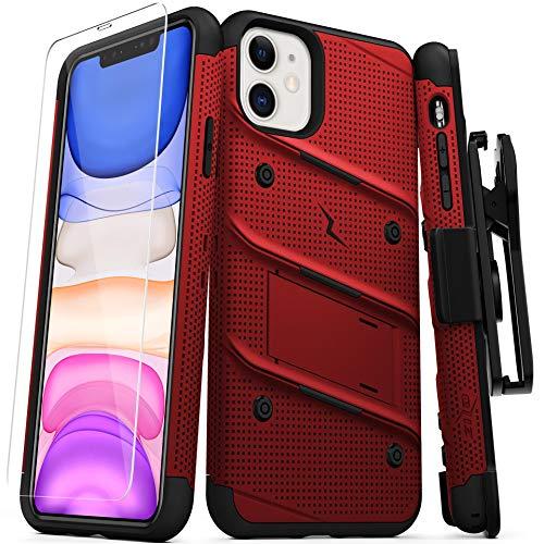 Zizo Bolt Cover - Carcasa para iPhone 11 (Incluye Protector de visualización de Vidrio y función Atril y Soporte), Color Rojo y Negro