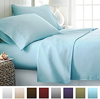 ienjoy Home Hotel Collection Luxury Soft Brushed Bed Sheet Set, Hypoallergenic, Deep Pocket, California King, Aqua