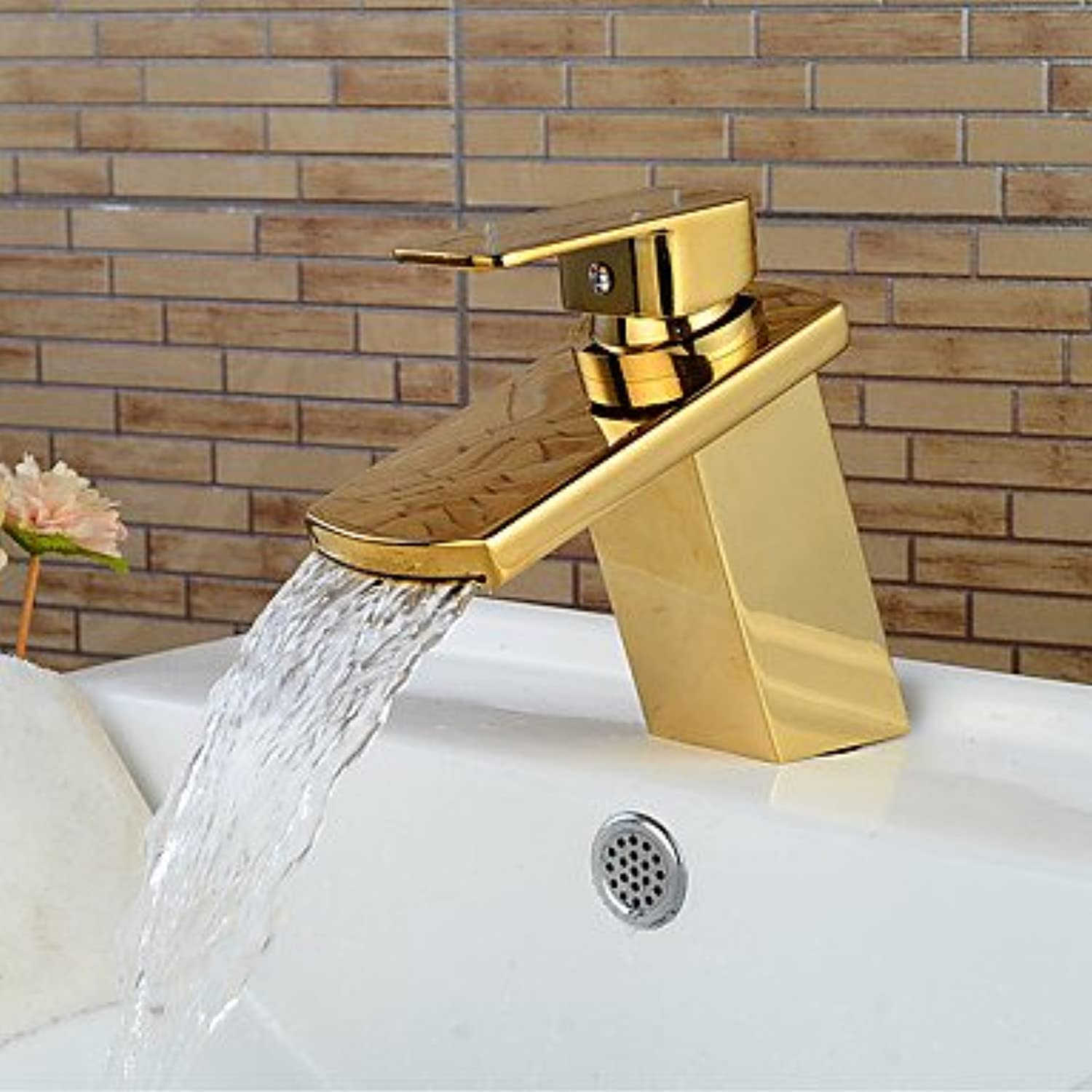 HZZymj-Contemporary Brass Waterfall Ti-PVD Bathroom Sink Faucet