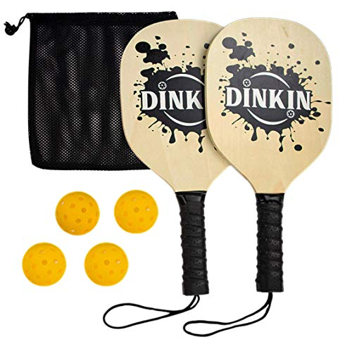 Dinkin Wood Pickleball Paddles with 4 Yellow Balls  Set Includes 2 Wooden Pickleball Paddles 4 Pickleballs and 1 Carry Bag for Hours of Fun | Great Paddles for Beginners Pickleball