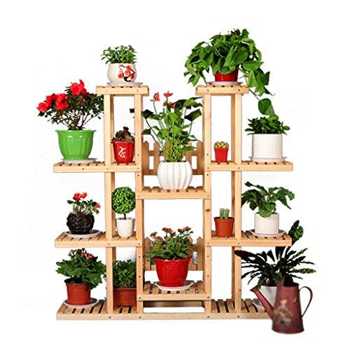 Support/support de fleur en bois solide, styles multiples de pin multi-couche, salon de jardin de balcon, huile en bois transparente (taille : B)