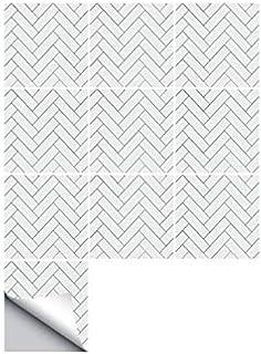 Funlife auto-adhésif imperméable blanc tuiles de chevrons cuisine meubles de salle de bains carrelage autocollant sticker ...