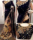 Redolent Women's Embroidered Work Saree With Blouse Piece (Black Stone Work)