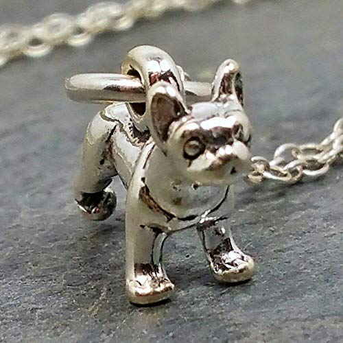Tiny Boston Terrier Charm Necklace - 925 Sterling Silver, 18'