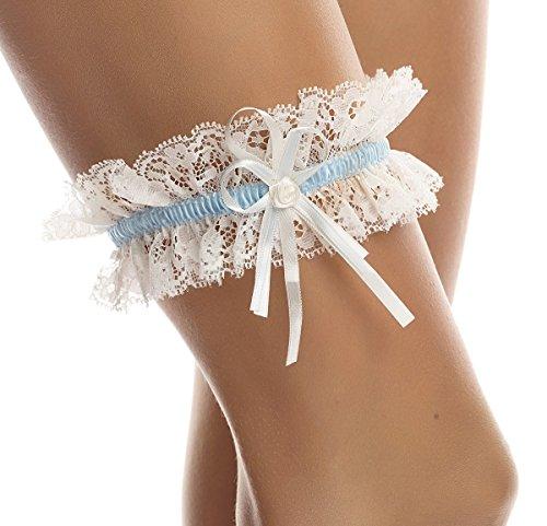 BrautChic - Strumpfband zur Hochzeit - Brautstrumpfband CLASSIC - Elastische Weiche Spitze, Ivory/Blau, Einheitsgröße