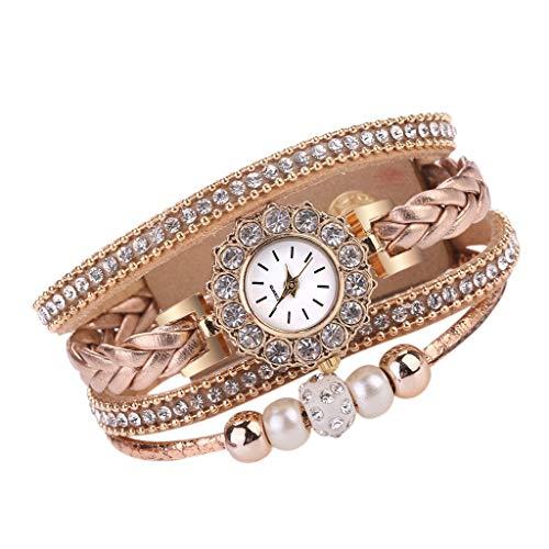 JZDH Relojes para Mujer Reloj Femenino Mujer Moda Vintage Weave Wrap Wrap Wrist Reloj Pulsera para Ladies Reloj de Pulsera Reloj de Regalo Reloj Relojes Decorativos Casuales para Niñas Damas