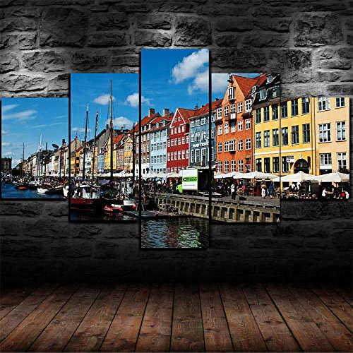 13Tdfc Cuadros Impresos En Lienzo Que Brillan En La Oscuridad 150X80Cm - 5 Piezas -Enmarcado Grande Copenhague Dinamarca- Premium Lienzo De Tejido No Tejido XXL