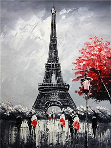 Dolomq DIY Ölgemälde Kit Malen Nach Zahlen Kit Für Erwachsene Anfänger Kinder Eiffelturm E5606 Home Haus Dekor 16X20 Zoll Ohne Rahmen