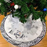 WEWILL 36'' Luxury Christmas Tree Skirt Embroidered Silvery Santa Claus Snowflake with Satin Border, Xmas Tree Skirt Themed with Christmas Stockings(Not Included) (Silver)