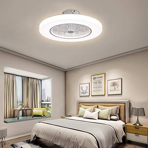 OUKANING Ventilador de techo LED con iluminación Ventilador moderno Luz de techo de 36W Fuente de Luz/viento Ventilador ajustable Lámpara de techo Ventilador de techo ultra silencioso (Ø58CM),Blanco