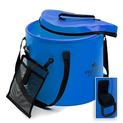 The Friendly Swede Faltbarer Eimer, Faltschüssel für Camping, Garten, Outdoor - zusammenklappbarer Falteimer, Wassereimer, Angel Eimer mit Deckel und Mesh Tasche (Blau 16 Liter)