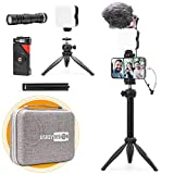 USKEYVISION Smartphone Video Vlogging Kit/Video Microphone Light Kit/YouTube Equipment, with Extensible Stick, for iPhone 12/Pro/Max/Mini, and All Smartphones, for Video Recording (Vlog K3)