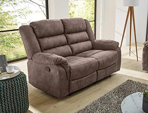 lifestyle4living Sofa mit Relaxfunktion in Braun, 2-Sitzer Relaxsofa, Vintage, Stoff/Federkern-Polsterung | Gemütliche Relax-Couch in modernem Design