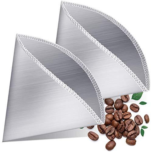 Fhdpeebu Wiederverwendbarer Guss über Kaffee Filter Edelstahl Fein Maschiger Kaffee Filter Tropf Kegel Papierloser Universal Kaffee Filter 2 StüCke