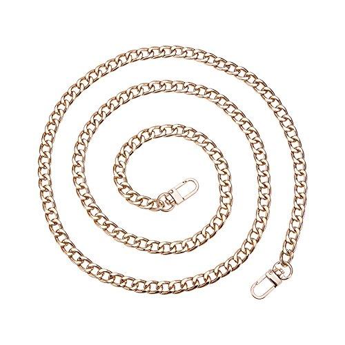 Pandahall Elite–Cadena de hierro para correa de bolso de mano con cierres giratorios – 120 x 1 cm – Color platino, hierro, dorado, 120x1cm