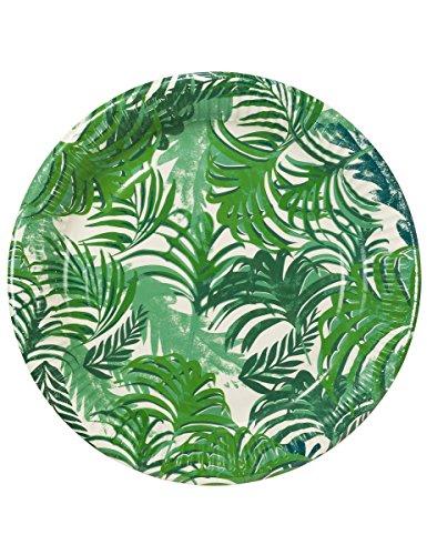 Talking Tables platos grandes con detalles de hojas. Verde y blanco. Para una barbacoa o fiesta de verano. 12 unidades