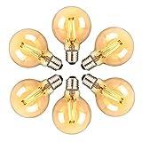 Orelpo Bombilla Vintage, Bombilla LED E27, Bombilla Edison Esférica Retro con Filamento, 6W (Equivalente a 60W), Blanco Cálido, 6 Unidades, para el Hogar, Restaurante, Cafetería, Bar