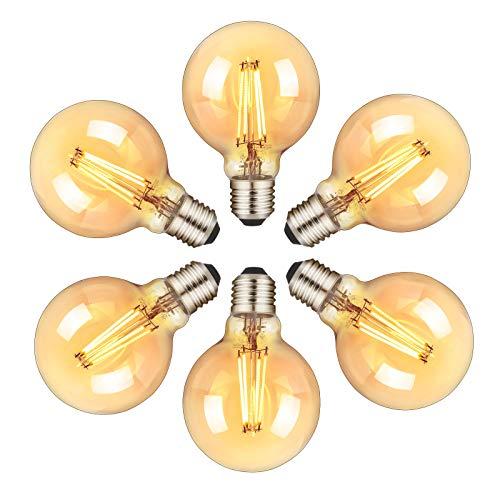 Orelpo Bombilla Vintage, Bombilla LED E27, Bombilla Edison Esférica Retro con Filamento, 6W (Equivalente a 60W), Blanco Cálido, 6 Unidades, para el Hogar, Restaurante, Cafetería, Bar.