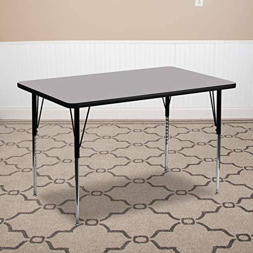 Flash Furniture 30''W x 72''L Rectangular Grey Thermal Laminate Activity Table - Standard Height Adjustable Legs