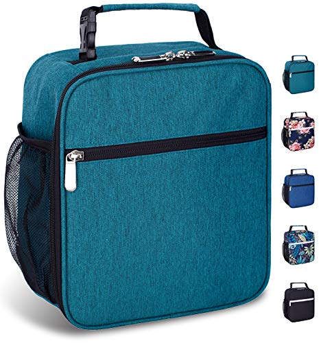 Insulated Reusable Lunch Bag for Women Men Kids-Leakproof Durable Cooler Lunch Box with Multi-Pockets & Detachable Buckle Handle Fits Office Work School Picnic-Green