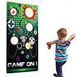WERNNSAI Video Game Toss Banner with 3 Bean Bags - Gaming Party Supplies for Kids Birthday Party Favors Bean Bag Game Sets Indoor Outdoor Yard Throwing Games Party Activities Decorations, 55'' x 30''