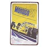 Wakauto 1 Pcs en Métal Signes Muraux Racing Metal Place Monaco Restaurant Ayrton Senna Formule Racing Pub 1987 Plaque De Fer Pad Décoration en Métal Pièce Conseil
