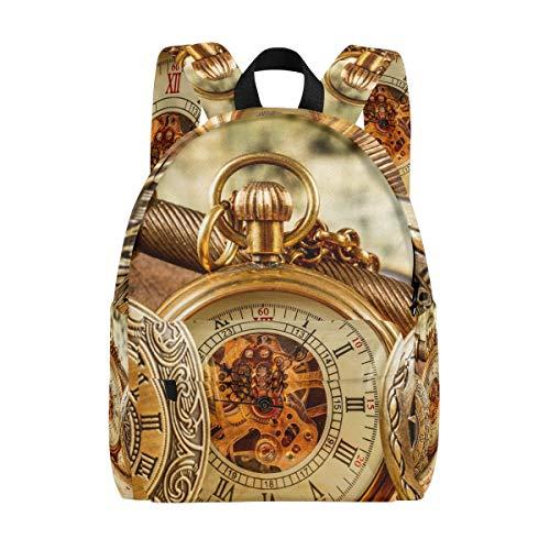 Mochila Mochila Arte Antiguo Reloj mecánico Guardería Viajes Escolares para niñas Adolescentes Varones