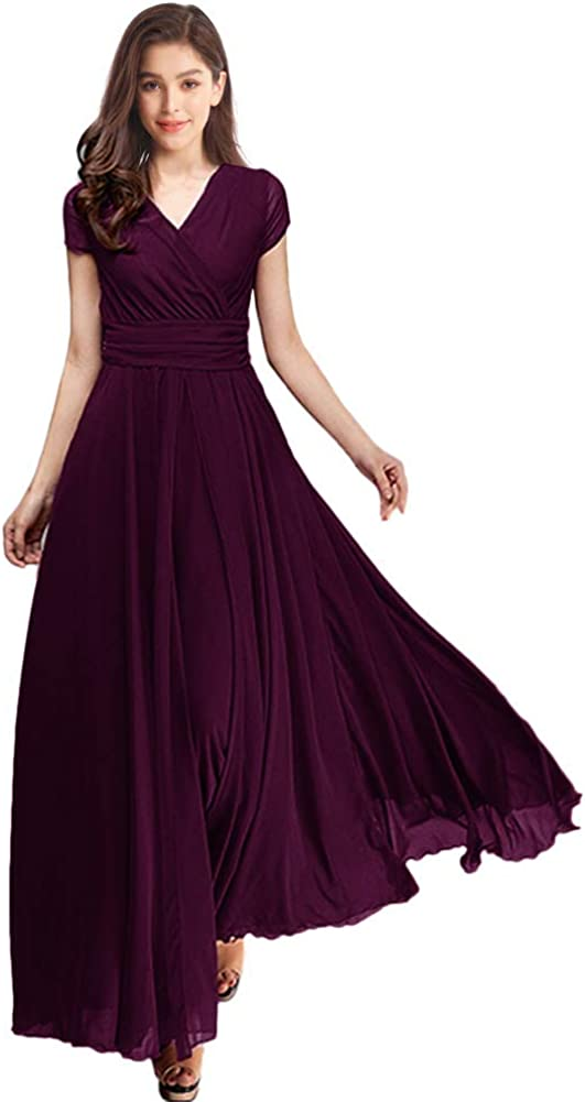 FYMNSI Women's Chiffon Boho Dress Wedding Bridesmaid Party Prom Ball Gown Ruched V Neck Cocktail Pageant Long Evening Dresses