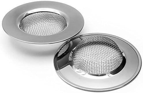2Pcs Stainless Steel Slop Basket Filter Trap Mesh Metal Sink Strainer Large Wide Rim 3 Diameter product image