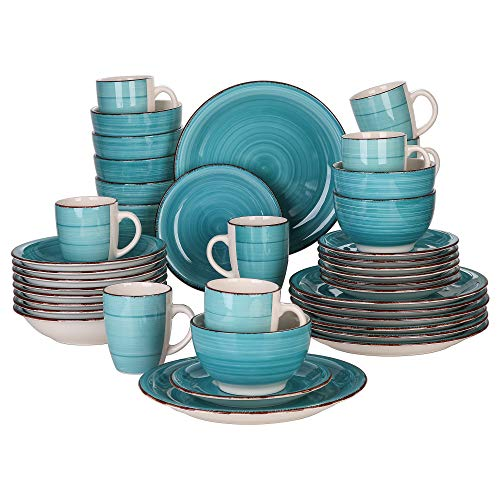 Vancasso Tafelservice Steingut, Bella 40 teilig Geschirrset, handbemaltes Kombiservice Set, Marokko Stil, handbemalt für 8 Personen