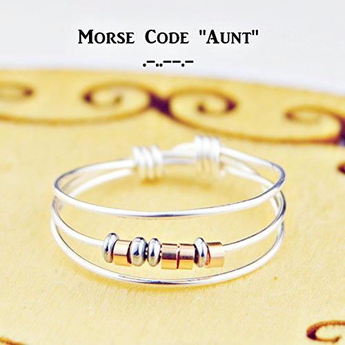 Rose 9,10,11,12,13,14 Morse CodeBreathe Ring- Your Choice of Color Beads and Silver 7 8 6 5 or Yellow Gold Filled Wire- Any Size-4