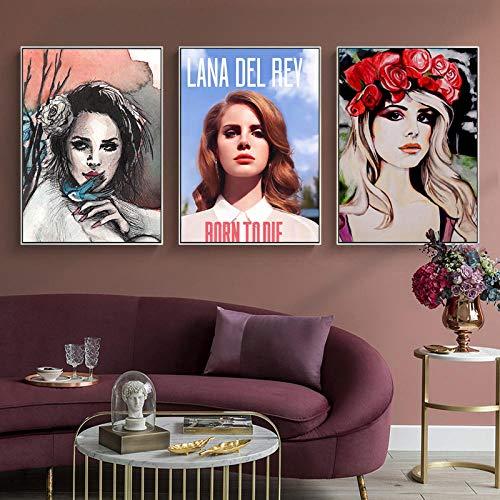 Vintage Lana del Rey Music Singer Posters e Impresiones Estético Negro Blanco Minimalista Arte de la Pared Pintura en Lienzo para decoración de Dormitorio 50x70cm Sin Marco
