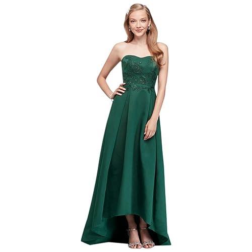 41e3c7e8342 David s Bridal Appliqued Faille High-Low Bridesmaid Dress Style OC290019