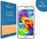 PREMYO Lot de 3 Verre Trempé Protection Écran Compatible avec Samsung Galaxy S5 -...