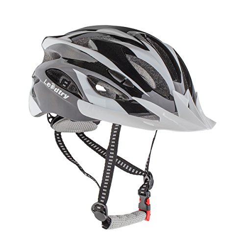 Leadtry HM3 Bike Helmet Ultralight Integrally Molded EPS Bicycle Helmet Safety Helmet Specialized for Road/ Mountain Terrain Bicycle with Comfortable Removable Washable Antibacterial Pads Black+White