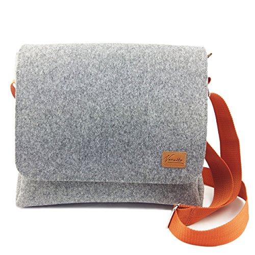 Venetto Herrentasche Messenger Bag Schultertasche Umhängetasche Handtasche Herren Filztasche Tasche aus Filz mit Echtleder-Applikationen für 13
