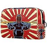 ATOMO Bolsa de maquillaje, bolsa de viaje de moda, neceser grande, organizador de maquillaje para mujeres, espada japonesa kendo combatientes de artes marciales