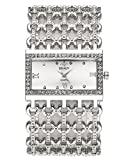 JSDDE Uhren Mode Strass Armbanduhr Rechteck Damenuhr Metall-Band Armkette Armreif Uhr Analog Manschette Quarzuhr,Silber