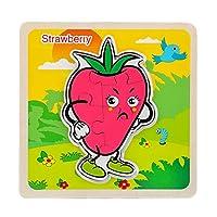 子供のためのジグソーパズルパズルゲーム興味深いおもちゃ3D木製の子供たち認知パズルボード赤ちゃん教育玩具(ストロベリー)
