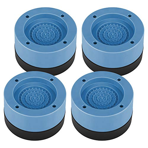 Piedini per lavatrice Antivibrazione, 4 Pezzi Piedini per Lavatrice Piedini per Rondelle Anti Vibrazione Ammortizzatore Vibrazione per Lavatrice e Asciugatrice in Gomma, Blu, 4 cm