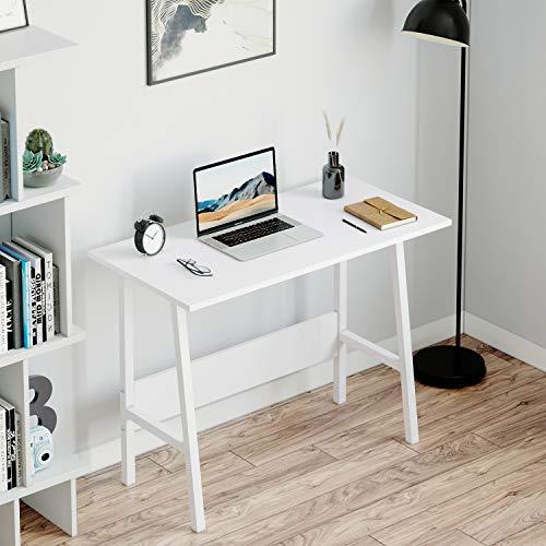 jeffordoutlet Computer Desk, Office Study Working Desk Table, Sturdy Metal & Wood Laptop for Teenager, Adult (White)