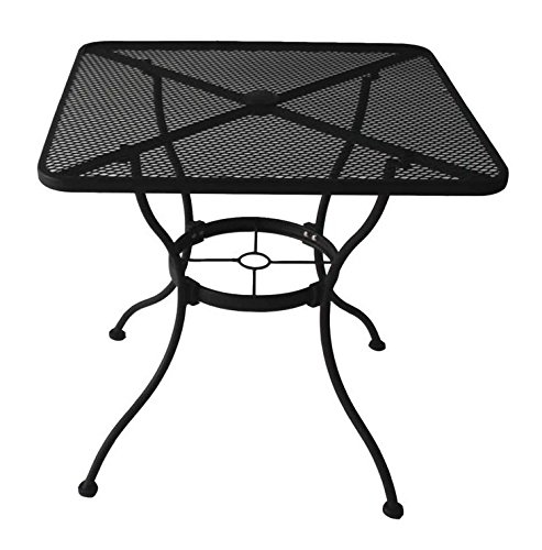 Garden Treasures Heavy-Duty Steel Frame with Black Powder-Coated Finish Square Bistro Restaurant Patio Outdoor Dining Table with Umbrella Hole, 30-in x 30-in