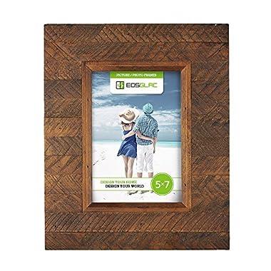 EosGlac Wooden Picture Frame, 5 x 7 Rustic  finish Wood Plank Design, 100% Premium Handmade (5x7, Brown)
