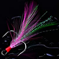 AMHDV Treble Hooks Feather Fishing Hooks Size 2 4 6 8 10 (Pack of 20) (Pink and Green, 2#)