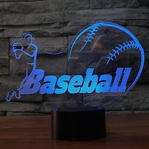 3D Led Béisbol Modelado Nightlight 7 Cambio de Color Gradient Escritorio Lámpara Hogar Ambiente Decoración Dormir Iluminación Accesorio Regalo